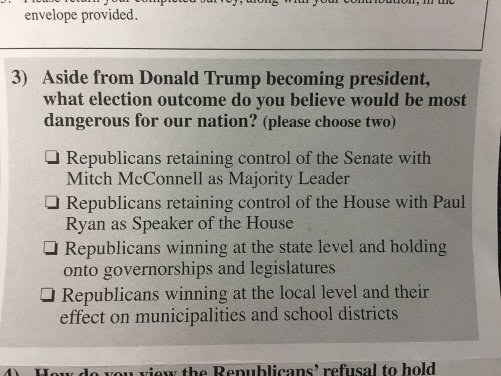 PHOTO: An excerpt from the Official 2016 Democratic Party Survey, the Democratic National Committee mailed to some of the partys registered voters.