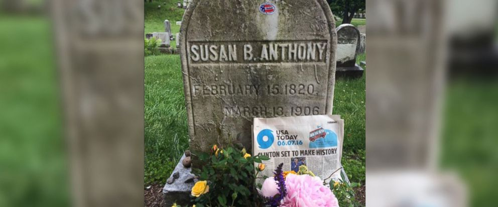 PHOTO: A visitor left news of Hillary Clintons historic nomination at Susan B. Anthonys grave site in Rochester, New York, June 8, 2016.
