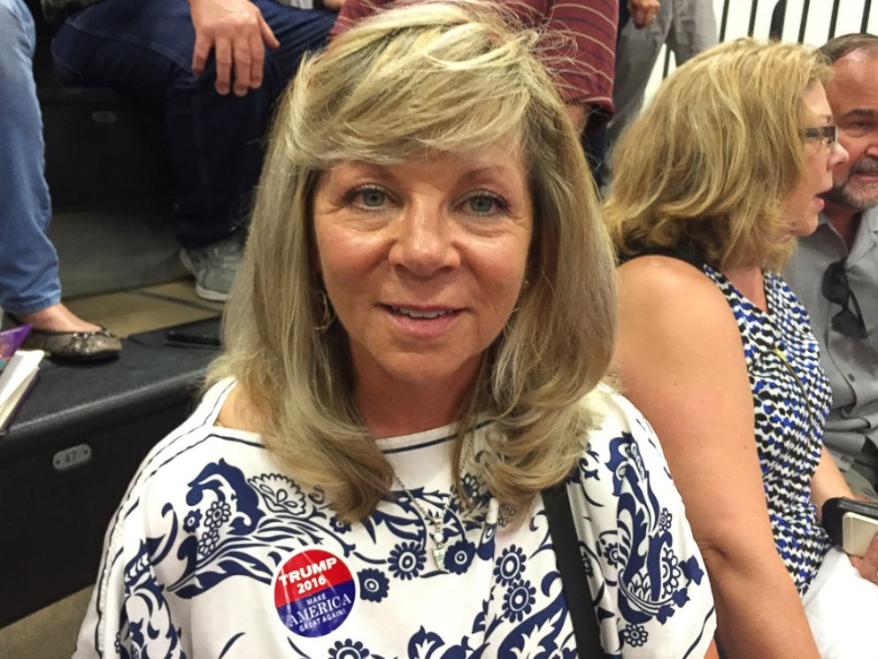 PHOTO: Susan Baker 0f Colorado Springs, Colorado, shares her opinion on Hillary Clinton, July 29, 2016.