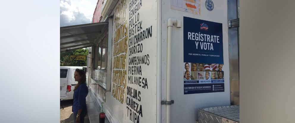 PHOTO: A voter registration drive in Houston, Texas has begun using taco trucks to provide voter registration information.