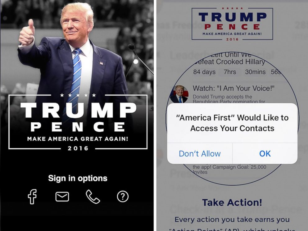 PHOTO: The America First smartphone app released by Donald J. Trump for President, Inc. requests access to the users contacts list after installation.