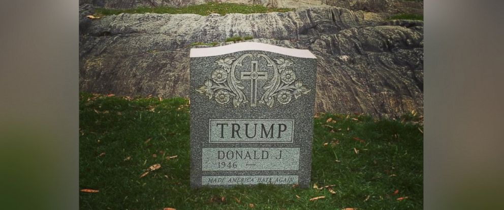 "PHOTO: This image of a headstone with Donald Trumps name on it was posted to Instagram on March 27, 2016 with the text, ""Someone placed an actual Trump tombstone in Central Park."""