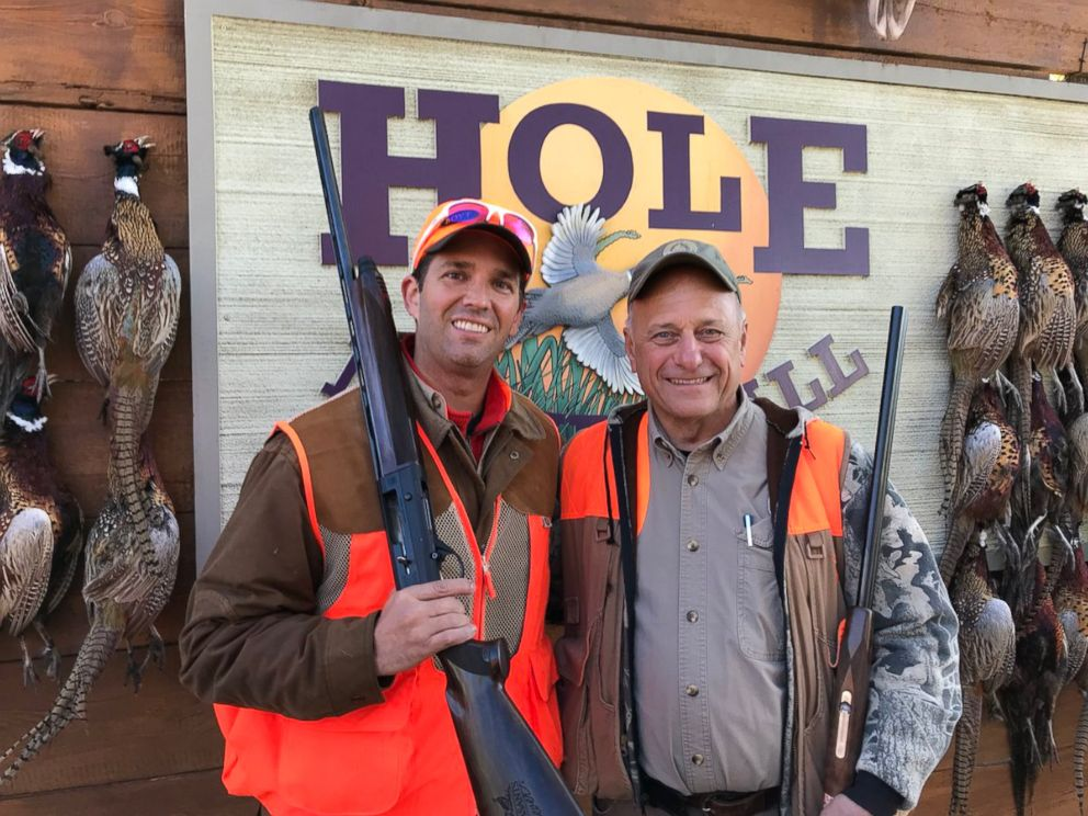PHOTO: Donald Trump Jr. and Rep. Steve King, R-Iowa at Kings Col. Bud Day Pheasant Hunt on October 28, 2017 in Akron, Iowa.