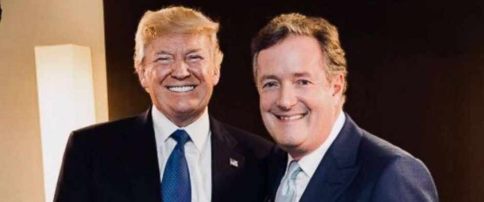 PHOTO: Piers Morgan and President Donald Trump in a photo tweeted by Morgan Jan. 28, 2018, to promote his ITV interview with the president.