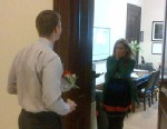 """PHOTO: Virgina Senator Mark Warner tweeted this image of one of his staffers, Beth Adelson, engagement proposal, with caption, """"MT @NWaghornAP: She said yes RT @brett_wanamaker: @MarkWarner @bethaleh Beth Ellen Adelson, will you marry me?"""" on Marc"""