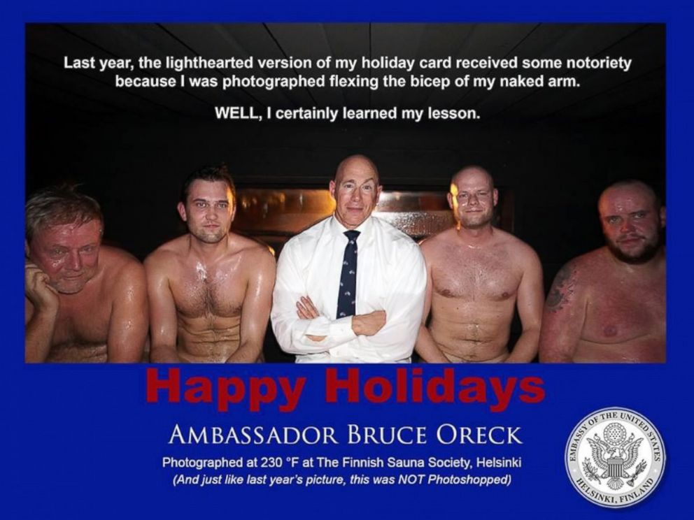 PHOTO: U.S. ambassador to Finland Bruce Oreck poses in a sauna for his light-hearted, 2013 Christmas card.