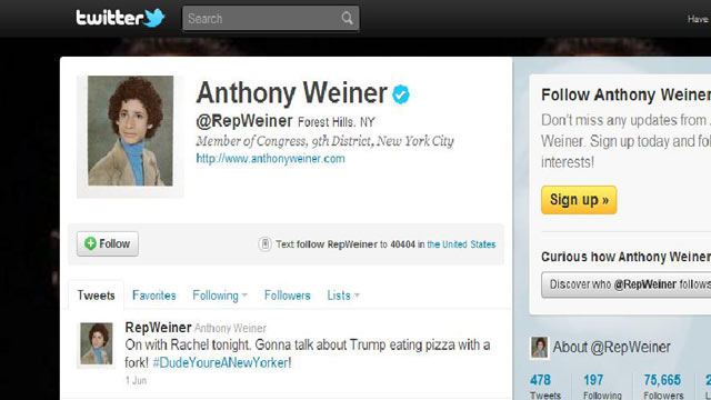 PHOTO:Rep. Anthony Weiners twitter profile page.
