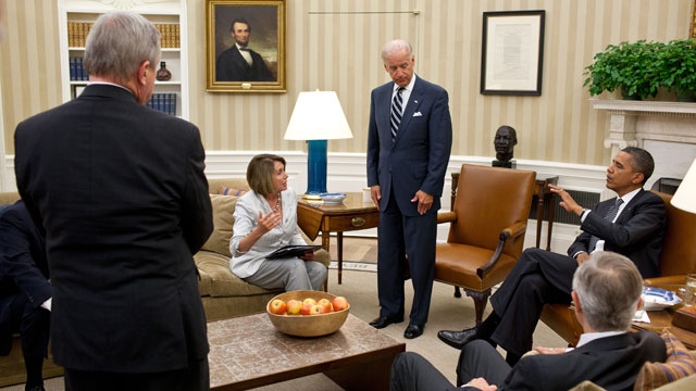 PHOTO: President Barack Obama and Vice President Joe Biden meet the Democratic leadership in the Oval Office to discuss ongoing efforts to find a balanced approach to the debt limit and deficit reduction, July 21, 2011.