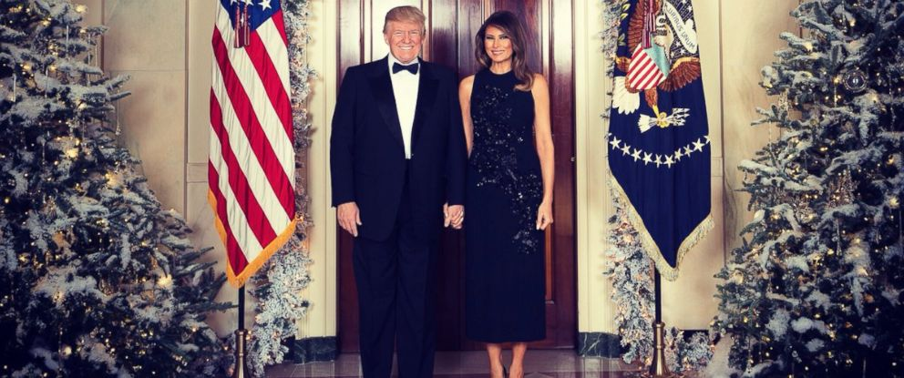 PHOTO: President Donald Trump and first lady Melania Trump in their official 2017 Christmas portrait, taken at the White House on December 5, 2017, and released on December 15, 2017.