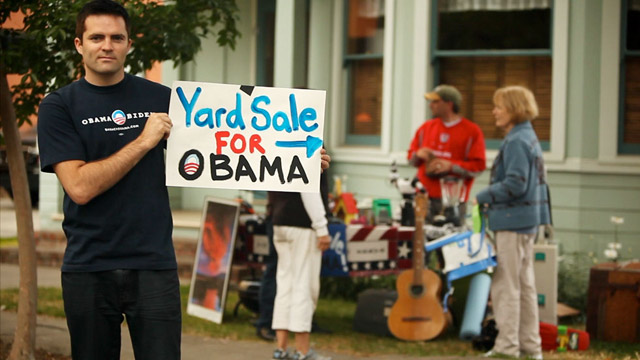 "PHOTO: Dabel and Silverman are hoping to recruit more than 500 co-hosts nationwide to host their own ""Yard Sale for Obama"" on September 22 - 23."