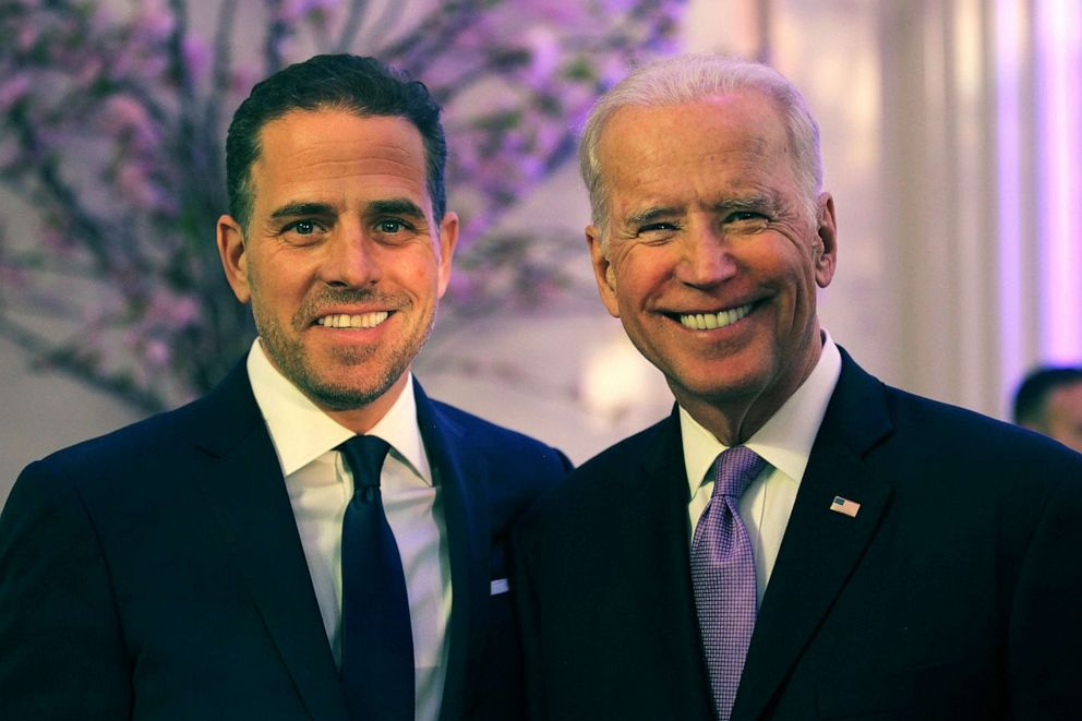 PHOTO: World Food Program USA Board Chairman Hunter Biden, left, and Vice President Joe Biden attend the World Food Program USAs Annual McGovern-Dole Leadership Award Ceremony at Organization of American States, April 12, 2016, in Washington, DC.