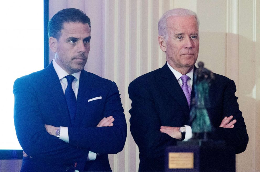 PHOTO: WFP USA Board Chair Hunter Biden stands next to his father, former Vice President Joe Biden during an event on April 12, 2016 in Washington, D.C.