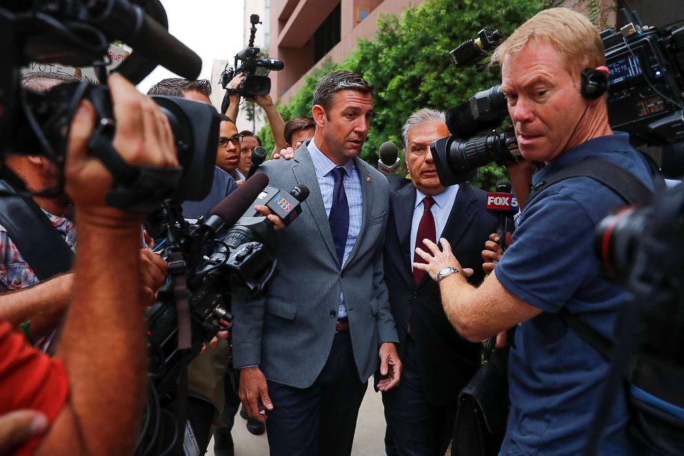 PHOTO: Congressman Duncan Hunter (R-CA) arrives at federal court in San Diego, Calif. Sept. 4, 2018.