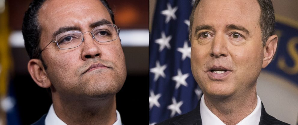PHOTO: Rep. Will Hurd, left, participates in a news conference, Jan. 16, 2018. | Adam Schiff speaks on May 17, 2017.