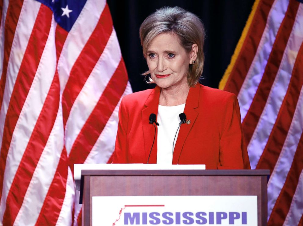 PHOTO: Sen. Cindy Hyde-Smith answers a question during a televised debate with Democrat Mike Espy in Jackson, Miss., Nov. 20, 2018.