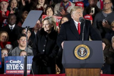 PHOTO: Cindy Hyde-Smith is introduced by President Donald Trump during a rally at the Tupelo Regional Airport, Nov. 26, 2018, in Tupelo, Mississippi.