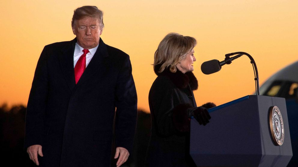 President Donald Trump arrives to deliver remarks as Cindy Hyde-Smith speaks at a Make America Great Again rally in Tupelo, Mississippi, Nov. 26, 2018.