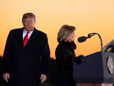 PHOTO: President Donald Trump arrives to deliver remarks as Cindy Hyde-Smith speaks at a Make America Great Again rally in Tupelo, Mississippi, Nov. 26, 2018.