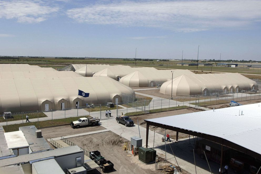 PHOTO: A privately-run illegal immigrant detention facility under construction in a cotton field outside this far south Texas Willacy County town, on August 11, 2006.