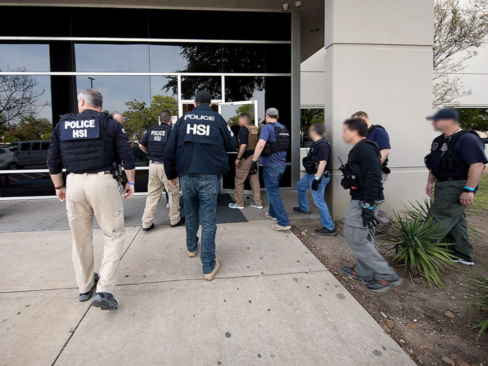 PHOTO: Special agents with U.S. Immigration and Customs Enforcement and Homeland Security Investigations executed criminal search warrants at CVE Technology Group Inc. and four of CVEs staffing companies, April 3, 2019.