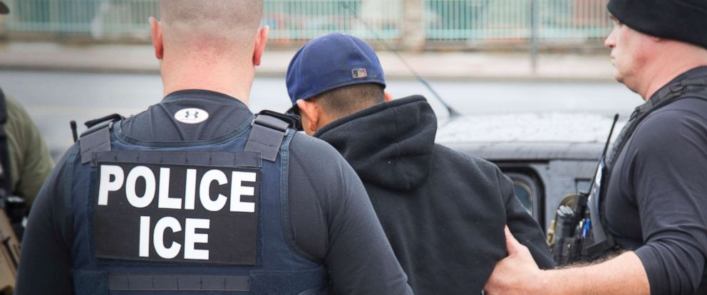 PHOTO: A foreign nationals is seen getting arrested during a targeted enforcement operation conducted by U.S. Immigration and Customs Enforcement (ICE) aimed at immigration fugitives, re-entrants and at-large criminal aliens in Los Angeles, Feb. 10, 2017.
