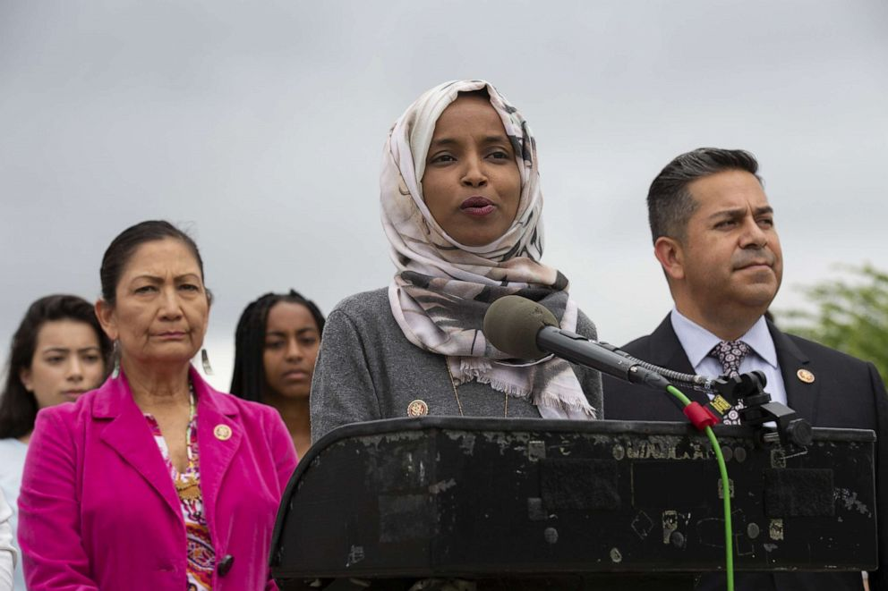 PHOTO: Rep. Ilhan Omar speaks at a press conference on the No Shame at School Act, June 19, 2019, in Washington, DC.