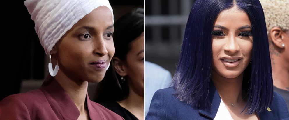 PHOTO: Rep. Ilhan Omar, left, and singer Cardi B, right.