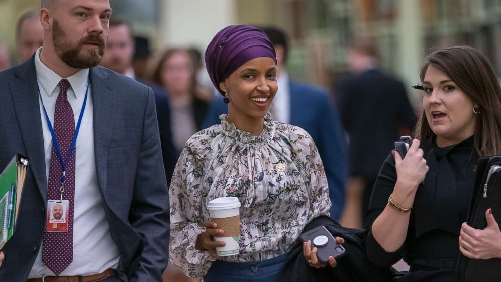 Rep. Ilhan Omar walks through an underground tunnel at the Capitol as top House Democrats plan to offer a measure that condemns anti-Semitism in the wake of controversial remarks by the freshman congresswoman, in Washington, D.C., March 6, 2019. Omar said last week that Israel's supporters are pushing U.S. lawmakers to take a pledge of