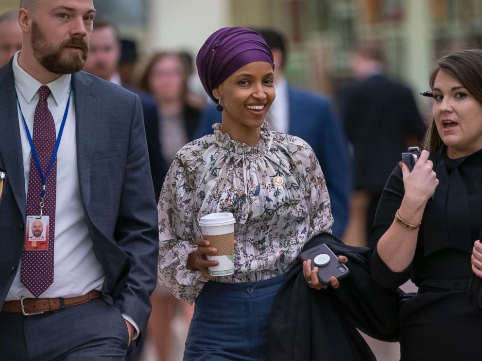PHOTO: Rep. Ilhan Omar walks through an underground tunnel at the Capitol as top House Democrats plan to offer a measure that condemns anti-Semitism in the wake of controversial remarks by the freshman congresswoman, in Washington, D.C., March 6, 2019.
