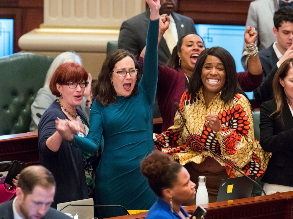 PHOTO: Illinois state Rep. Kelly Cassidy, D-Chicago, center, sponsored the abortion bill expected to be signed on Wednesday, June 12, by Gov. J.B. Pritzker.