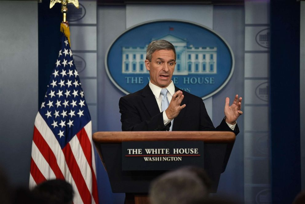 PHOTO: Acting Director of U.S. Citizenship and Immigration Services (USCIS) Ken Cuccinelli speaks about immigration policy during a briefing at the White House on August 12, 2019 in Washington, DC.