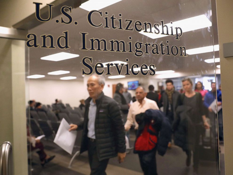 PHOTO: Immigrants prepare to become American citizens at a naturalization service on January 22, 2018 in Newark, New Jersey.