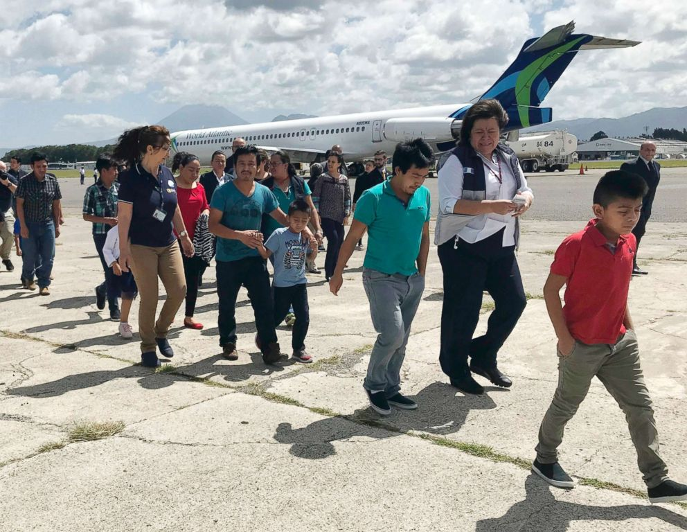 PHOTO: Families separated under President Donald Trump administrations zero tolerance policy return home to Guatemala City, Guatemala, July 10, 2018, after being deported from the United States.