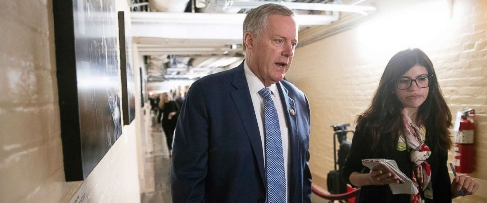 PHOTO: Rep. Mark Meadows walks to a closed-door GOP meeting in the basement of the Capitol as the Republican leadership tries to reach a policy agreement between conservatives and moderates on immigration, in Washington, June 7, 2018.