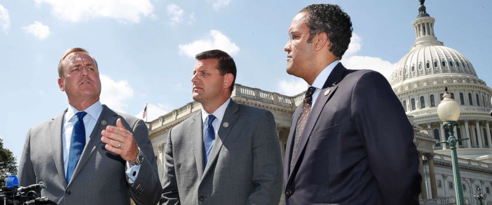 PHOTO: Rep. Jeff Denham, Rep. David Valadao, and Rep. Will Hurd,left to right, during a news conference with House Republicans who are collecting signatures on a petition to force House votes on immigration legislation, May 9, 2018, in Washington, D.C.