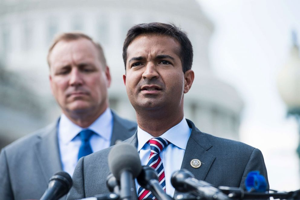 Rep. Carlos Curbelo speaking at a news conference on immigration reform at the Capitol, May 9, 2018.