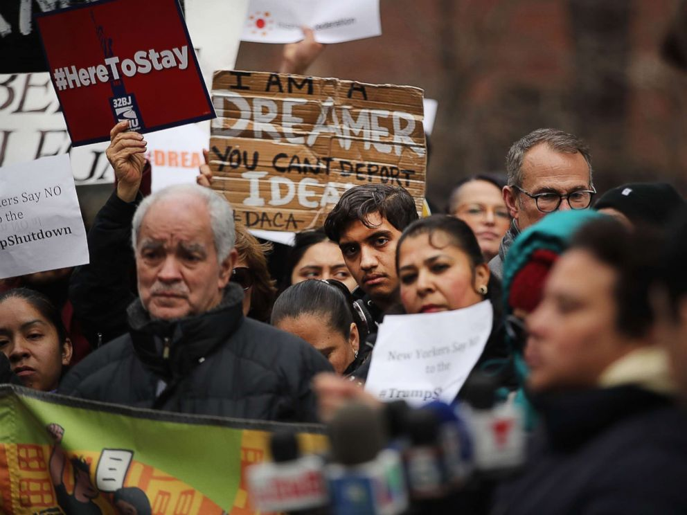 PHOTO: Demonstrators protest the government shutdown and the lack of a deal on DACA outside of Federal Plaza on Jan. 22, 2018, in New York.