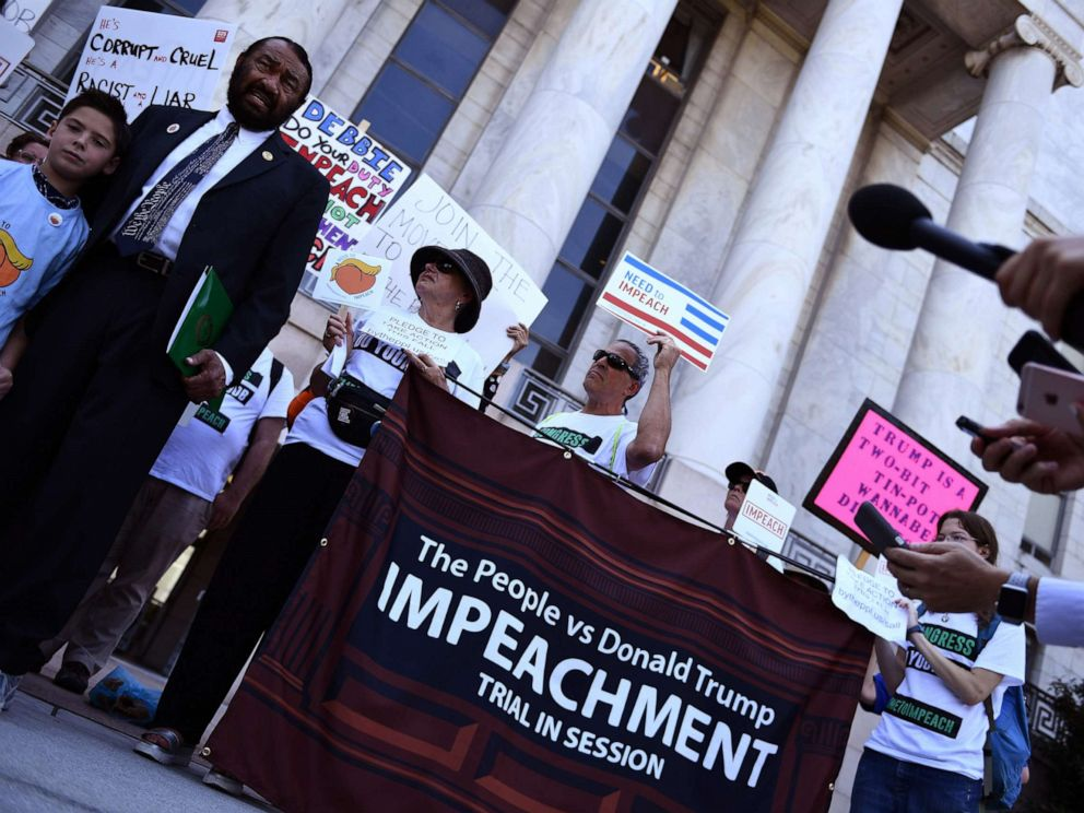 PHOTO: Activists ask for the impeachment of President Donald Trump on Capitol Hill, Sept. 23, 2019.