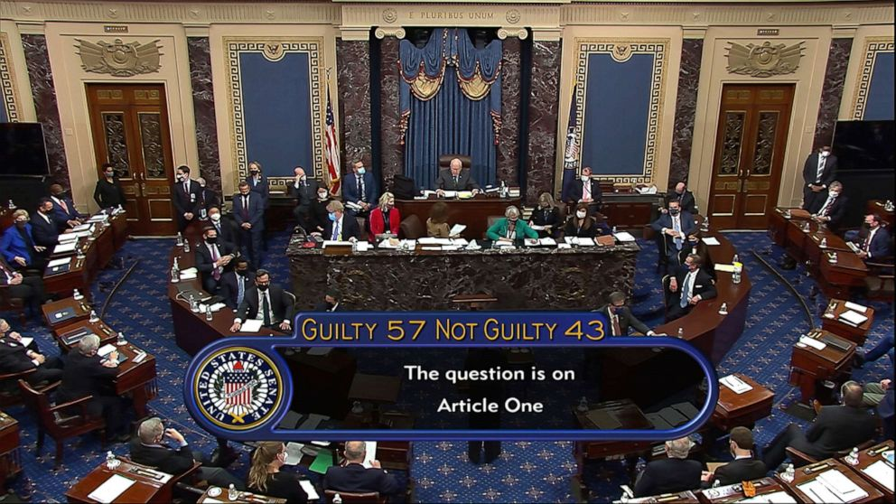 PHOTO The final vote total of 57-43 to acquit former President Donald Trump of the impeachment charge is shown on Senate TV at the conclusion of the impeachement trial in the Senate at the US Capitol in Washington DC Feb 13 2021