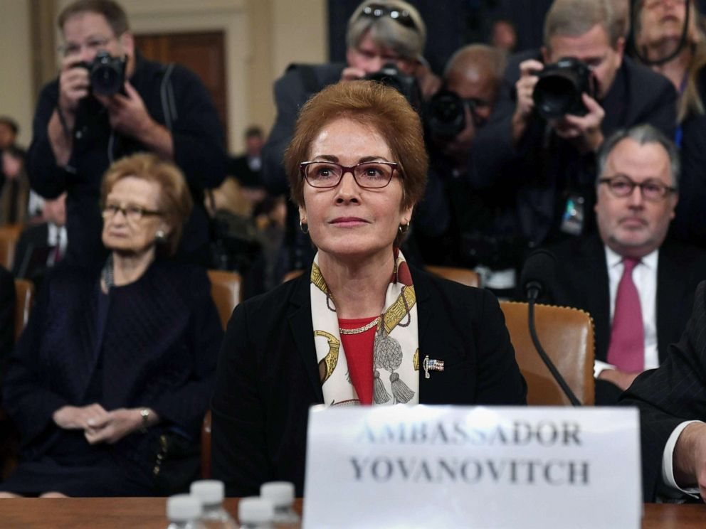 PHOTO: Former U.S. Ambassador to the Ukraine Marie Yovanovitch arrives to testify during the second public hearings as part of the impeachment inquiry into President Donald Trump, on Capitol Hill on Nov. 15, 2019 in Washington D.C.