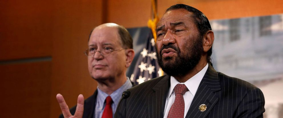 PHOTO: Rep. Al Green (D-TX), accompanied by Rep. Brad Sherman (D-CA), speaks with the media about his plans to draft articles of impeachment against President Donald Trump on Capitol Hill in Washington, June 7, 2017.