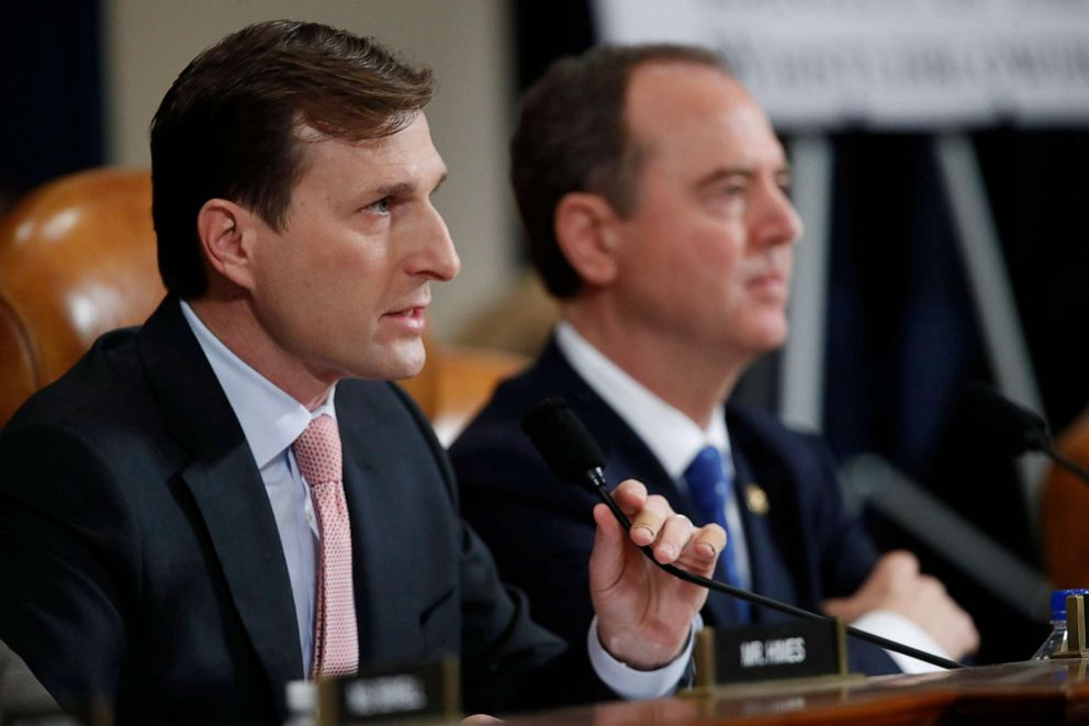 PHOTO: Daniel Goldman, director of investigations for the House Intelligence Committee Democrats, left, questions U.S. Ambassador to the European Union Gordon Sondland as he testifies before the House Intelligence Committee on Capitol Hill, Nov. 20, 2019.