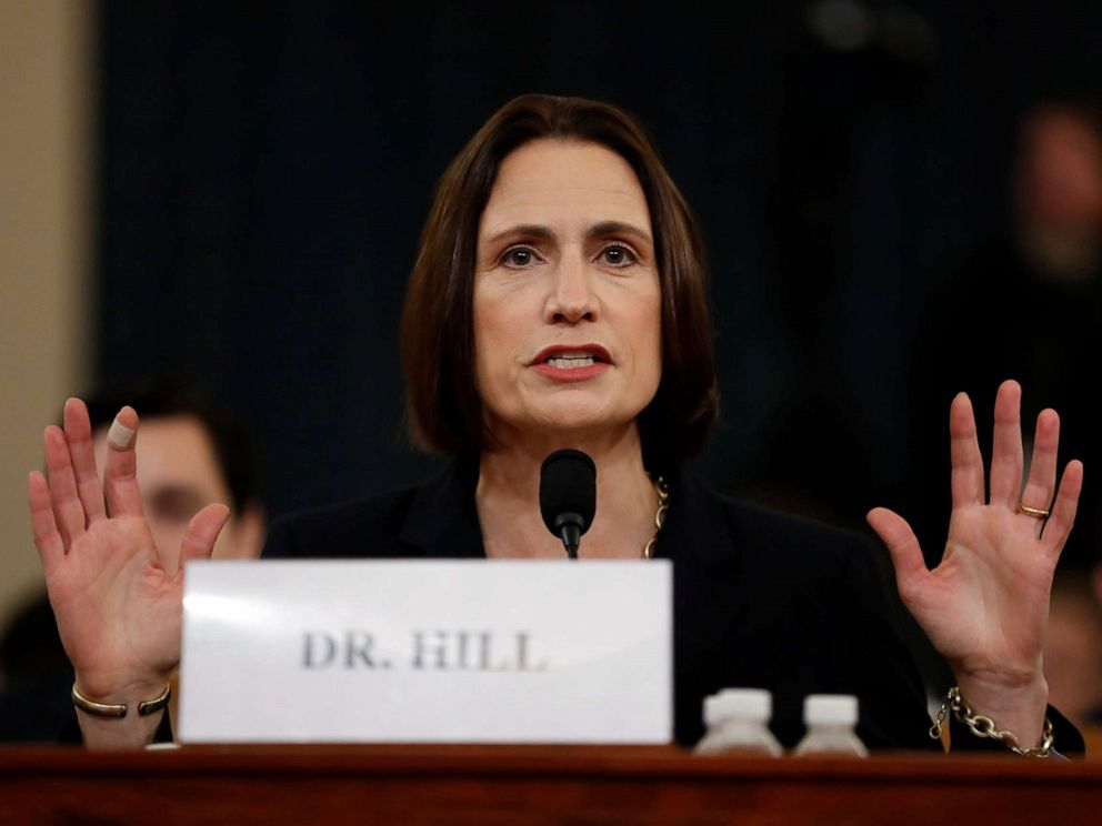 PHOTO: Former White House national security aide Fiona Hill testifies before the House Intelligence Committee on Capitol Hill in Washington, Nov. 21, 2019.