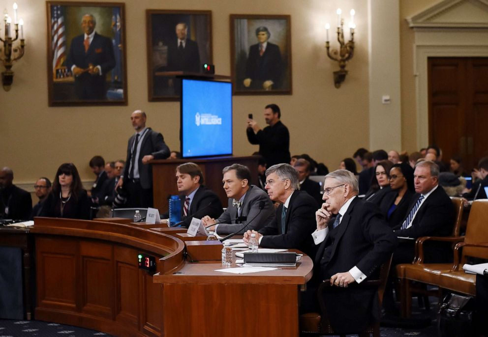 PHOTO: Top US diplomat in Ukraine, William Taylor, and George Kent, the deputy assistant secretary of state for European and Eurasian Affairs testify during the House Intelligence Committee on Capitol Hill in Washington, Nov. 13, 2019.