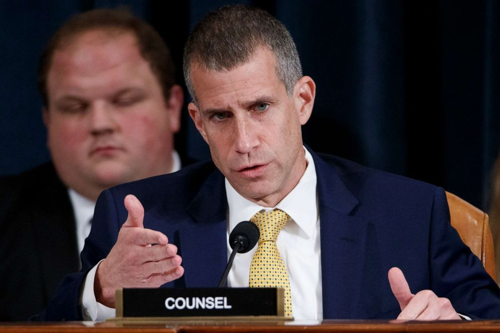 PHOTO: Republican Attorney General Steve Castor speaks with Jennifer William and Colonel Alexander Vindman, as they testify before the House Intelligence Committee on Capitol Hill in Washington, DC, November 19, 2019.