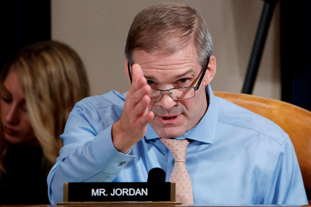 PHOTO: Ohio Republican Representative Jim Jordan questions Jennifer Williams and Alexander Vindman about the persecution of President Donald Trump on Capitol Hill in Washington, DC, November 19, 2019.