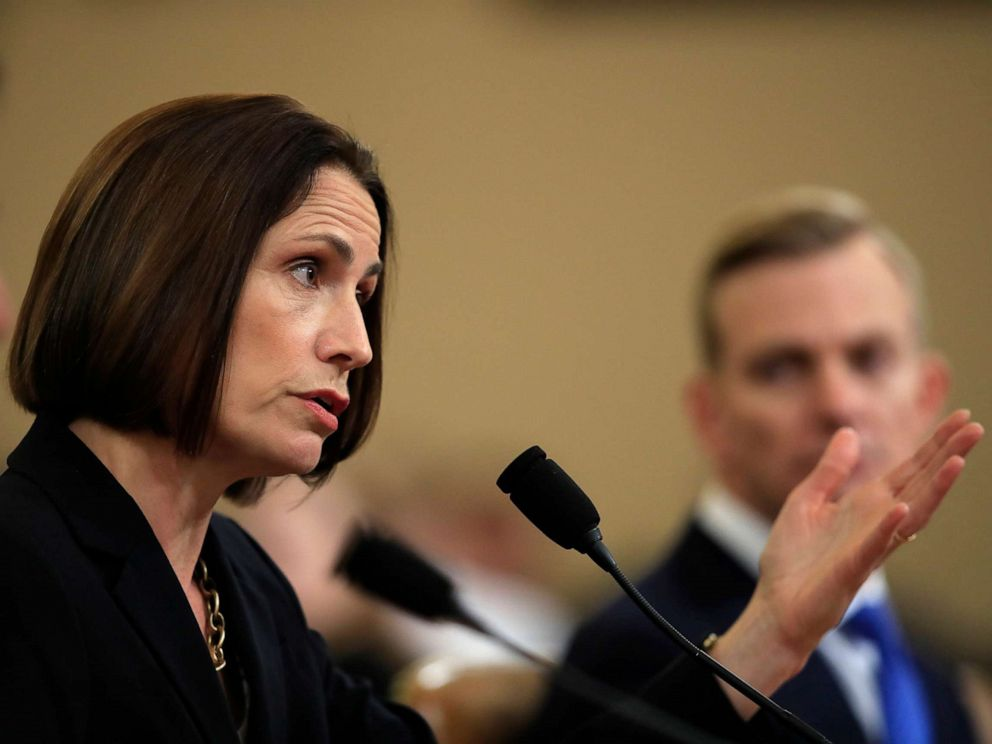 PHOTO: Former White House national security aide Fiona Hill, and David Holmes, a U.S. diplomat in Ukraine, right, testify before the House Intelligence Committee on Capitol Hill in Washington, Nov. 21, 2019.