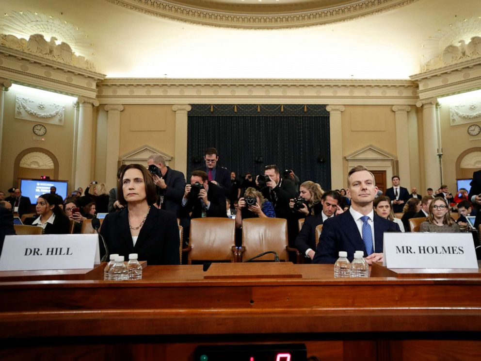 PHOTO: Former White House national security aide Fiona Hill, and David Holmes, a U.S. diplomat in Ukraine, arrive to testify before the House Intelligence Committee on Capitol Hill in Washington, Nov. 21, 2019.