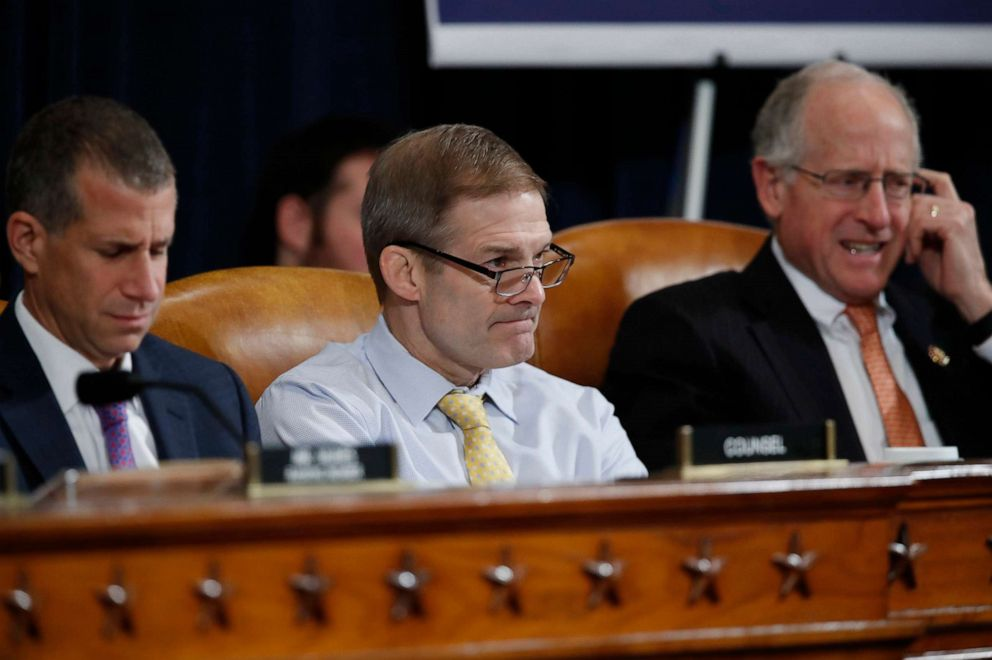 PHOTO: From left, Steve Castor, the Republican staff attorney, Rep. Jim Jordan and Rep. Mike Conaway, listen as U.S. Ambassador to the European Union Gordon Sondland testifies before the House Intelligence Committee on Capitol Hill, Nov. 20, 2019.