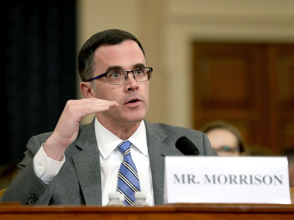 PHOTO: Former National Security Council Senior Director for European and Russian Affairs Tim Morrison testifies before the House Intelligence Committee on Capitol Hill, Nov. 19, 2019.